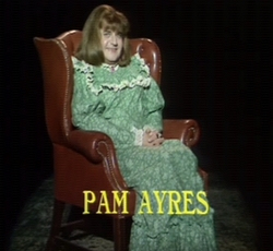 Ronnie Barker as Benny Hill in drag in 'My Secret' by Pam Ayres on The Two Ronnies.
