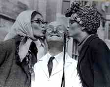 Claire and me as old ladies for Benny hill chase sequence kissing Jackie Wright.